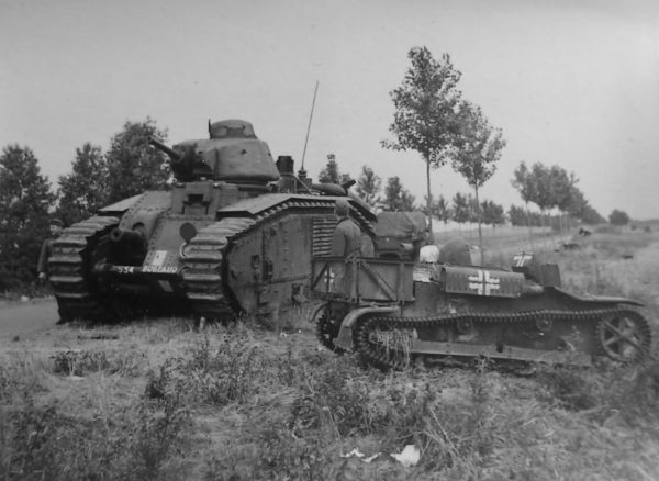 The Germans investigate another knocked out Char B1.