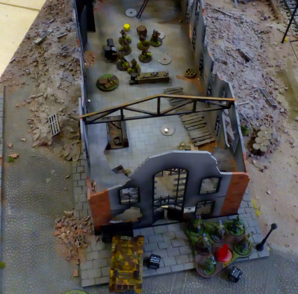 Rob's Fallschirmjagers advance through a bombed-out factory.
