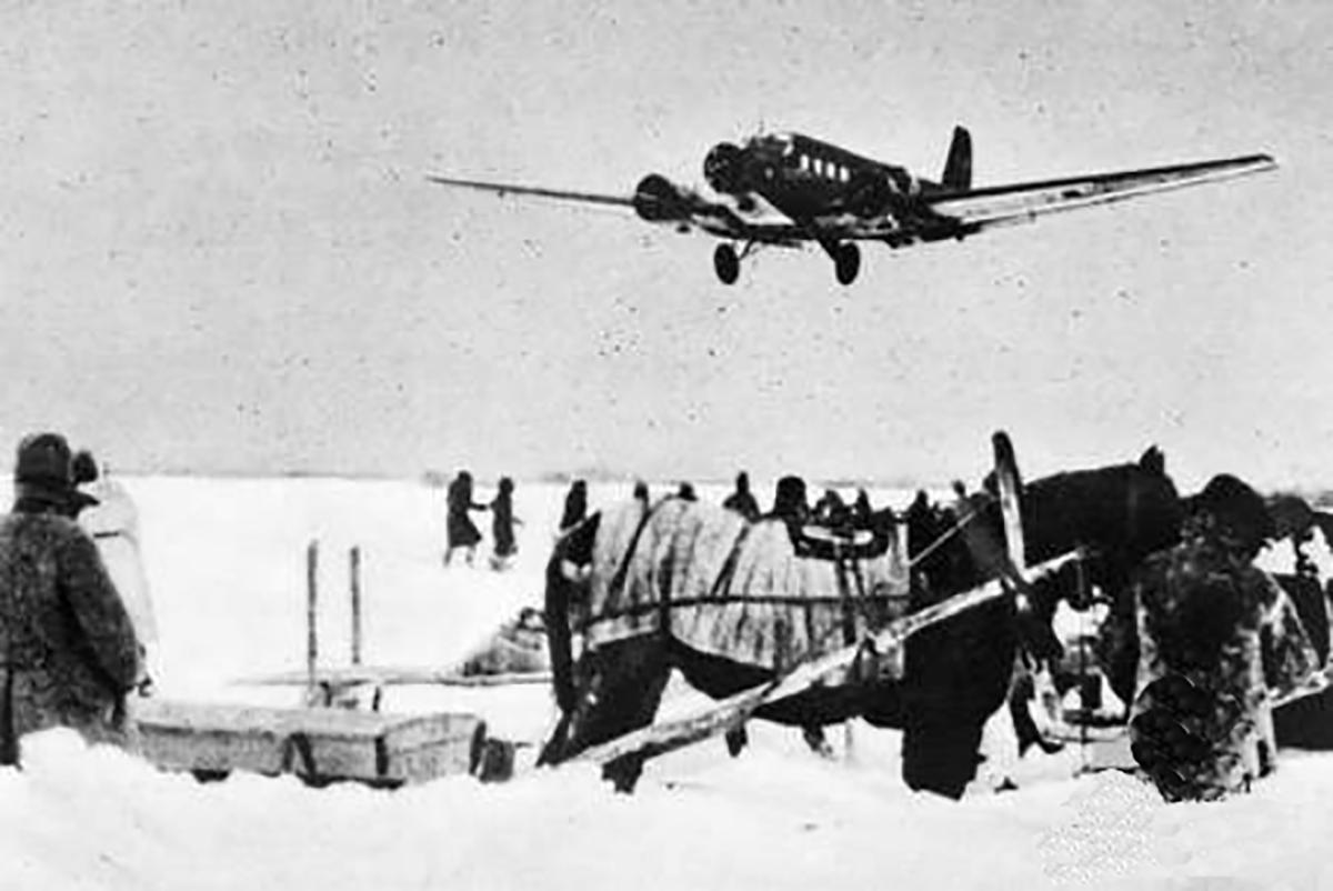 A Luftwaffe Ju52 lands at an airfield near Stalingrad.