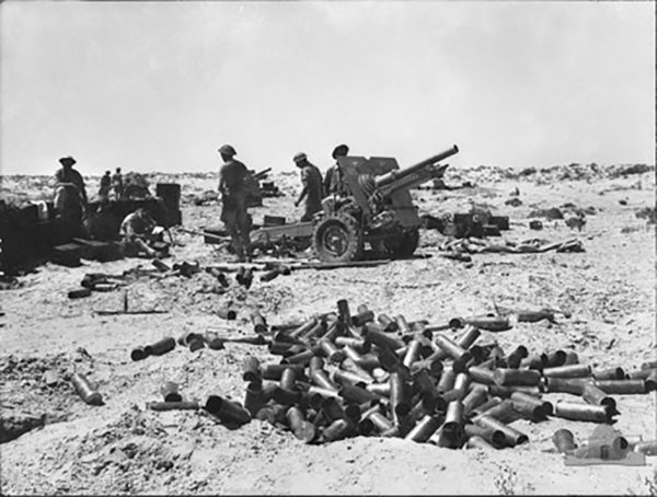 Australian field artillery in action during the battle of El Alamein.