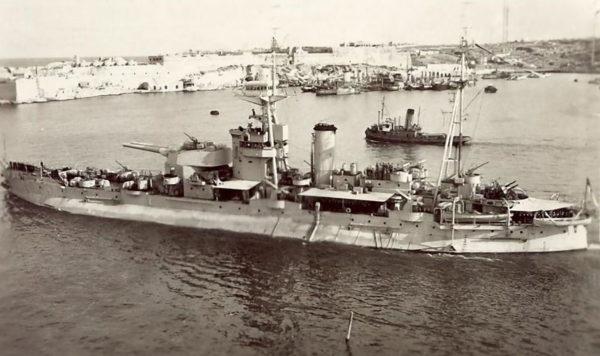 HMS Roberts in Malta, 1945. Monitor.