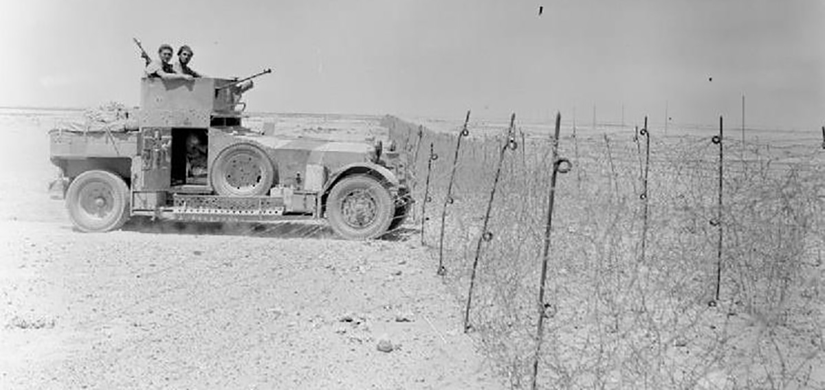 A Rolls Royce armoured car of the 11th Hussars on the Libyan frontier.
