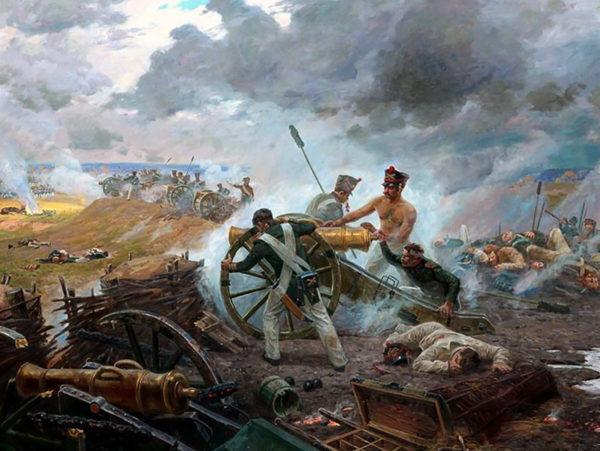 Russian artillery at the battle of Borodino.