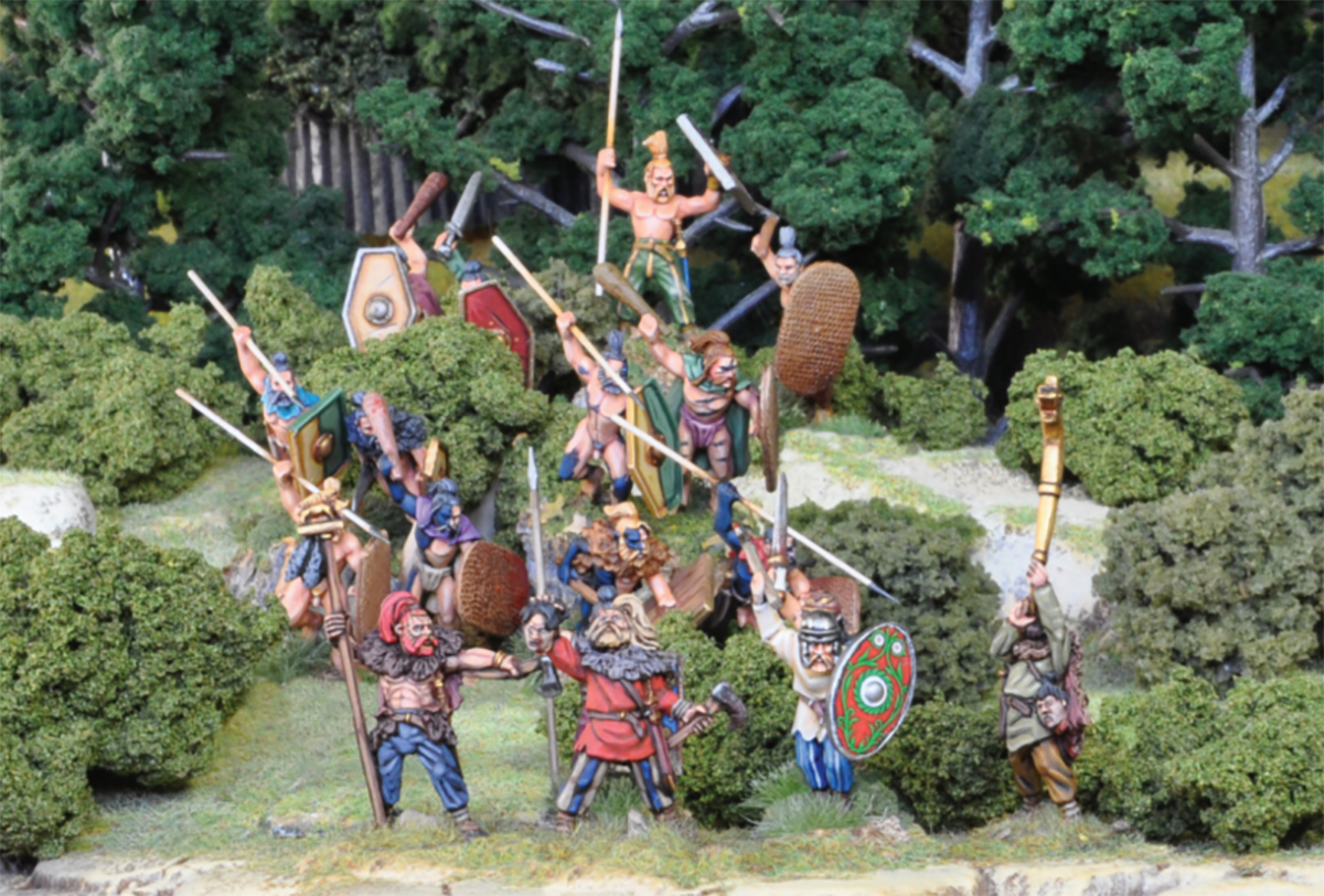 Woad-painted Barbarians form a skirmish line ahead of the main force!