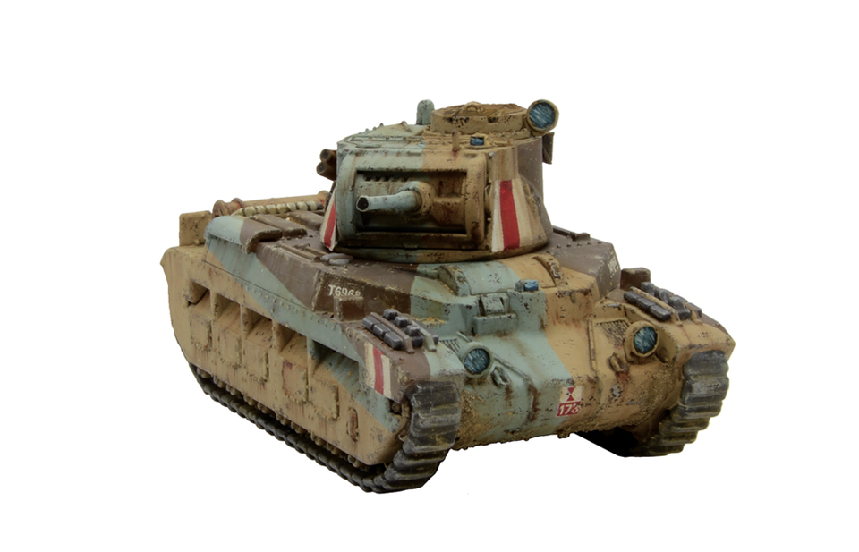 Plastic A12 Matilda II Desert_front right quarter view
