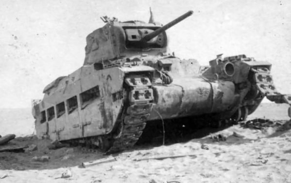 A destroyed Matilda II tank in the Western Desert.