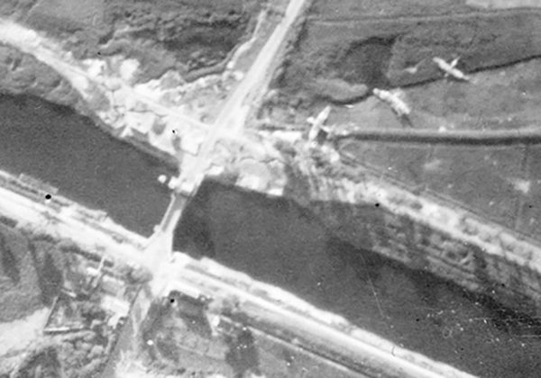 An aerial photograph taken by an RAF photo-reconnaissance unit, showing the gliders used in the assault on the Caen canal.