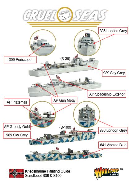 Cruel Seas Kriegsmarine Scnellboot S38 & S100 Painting Guide