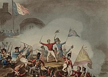 Picton storming the Castle of Badajoz, 31 March 1812