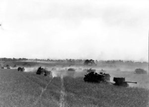 Canadian forces moving toward Falaise on 14 August 1944