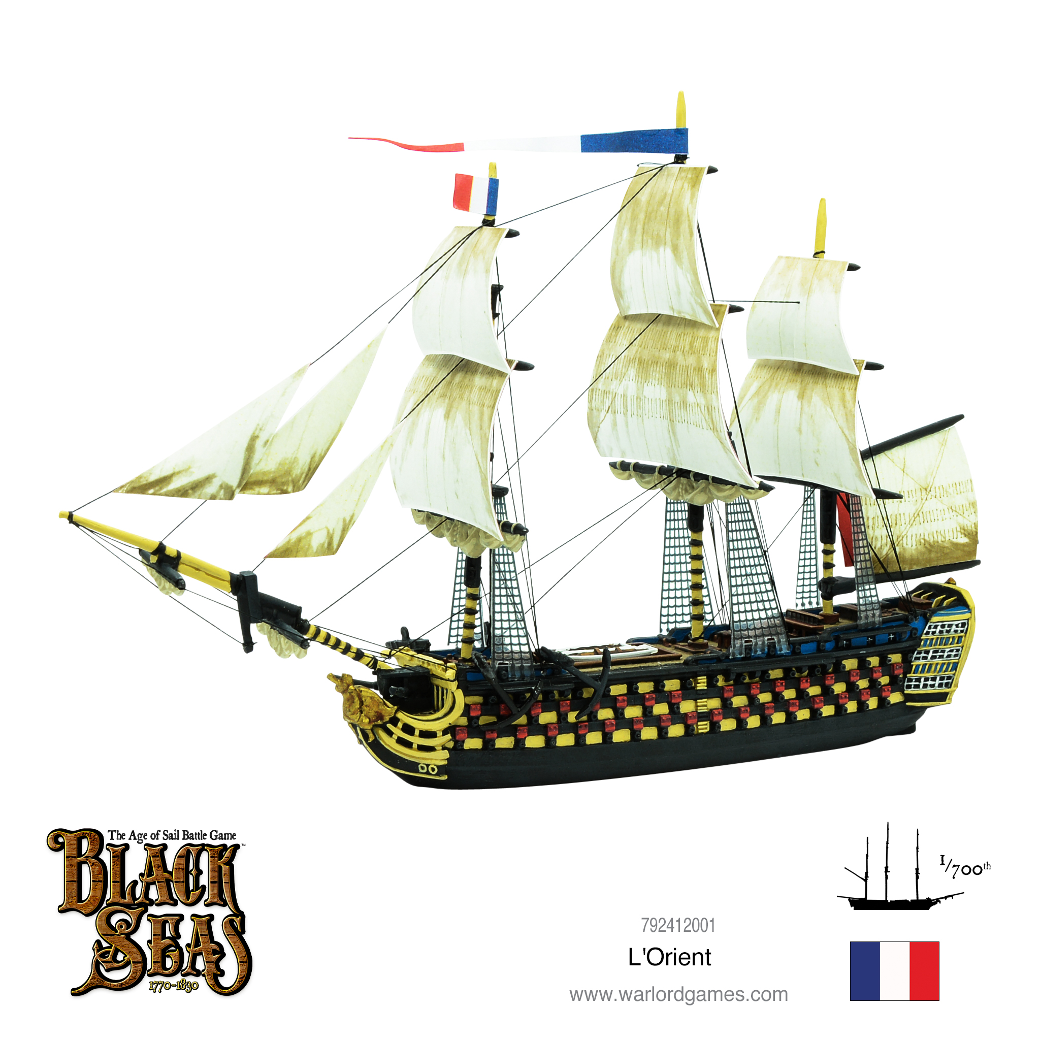 Black Seas FRENCH Navy Flags Warlord Games