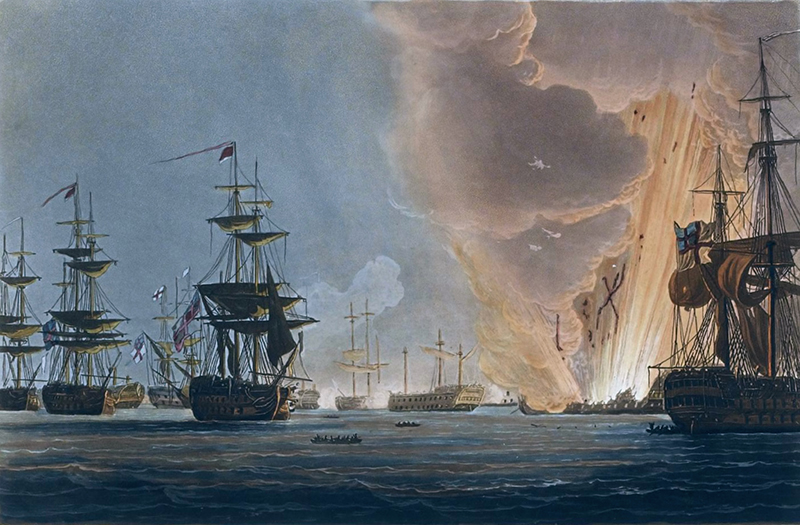 Battle of the Nile, August 1st 1798, painting by Thomas Whitcombe