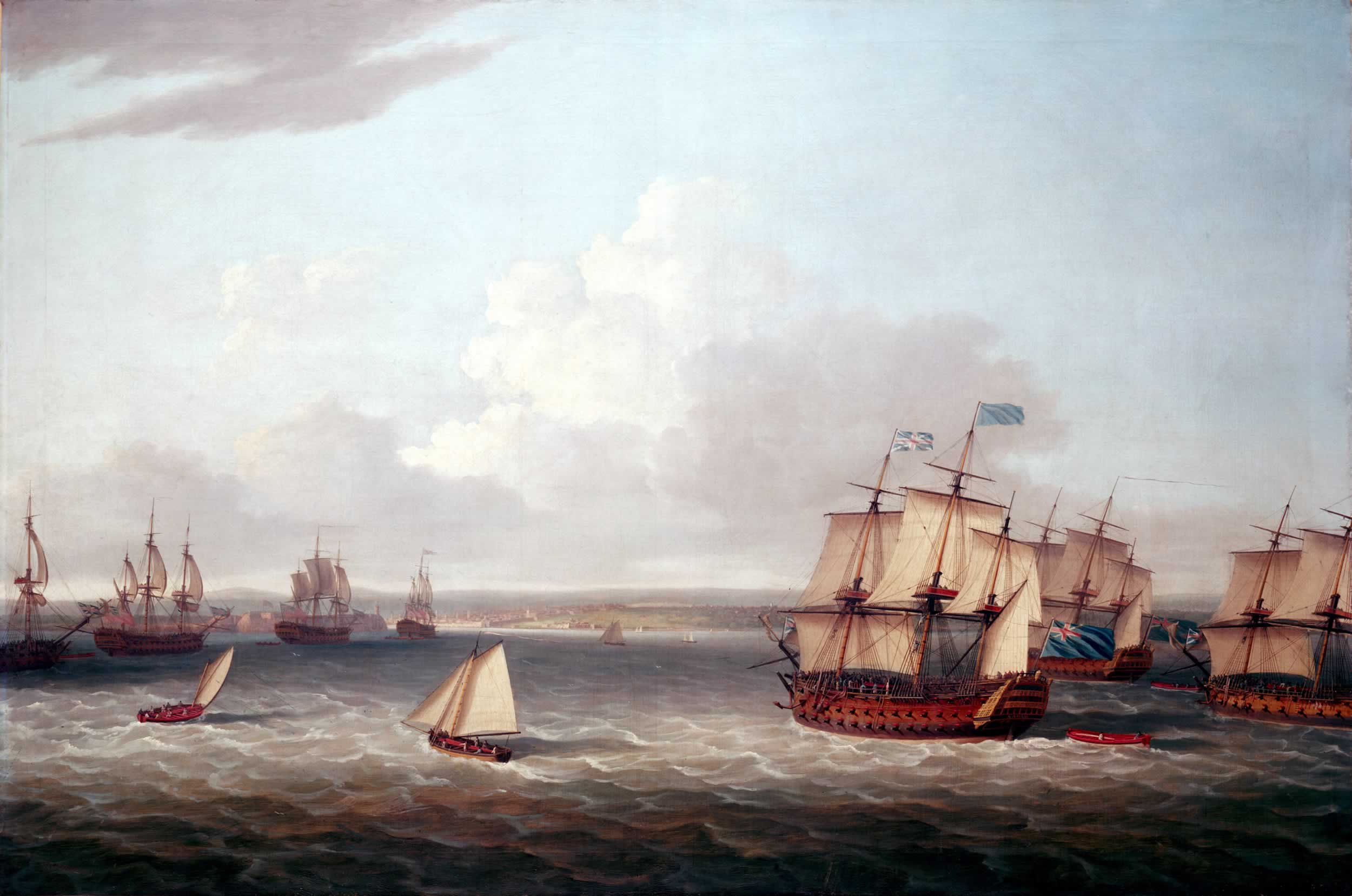 The British fleet closing in on Havana in 1762. Painting by Dominic Serres