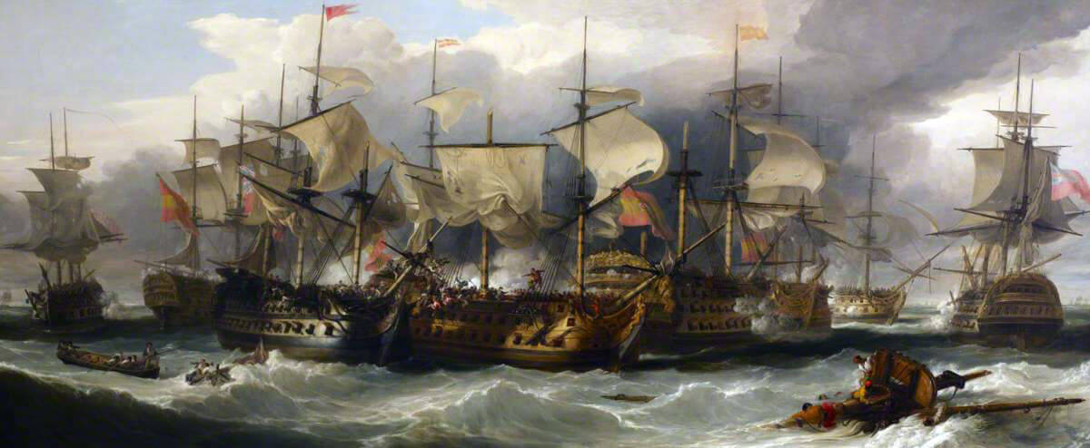 HMS Captain alongside San Nicholas and San Josef at the Battle of Cape St Vincent on 14th February 1797 in the Napoleonic Wars