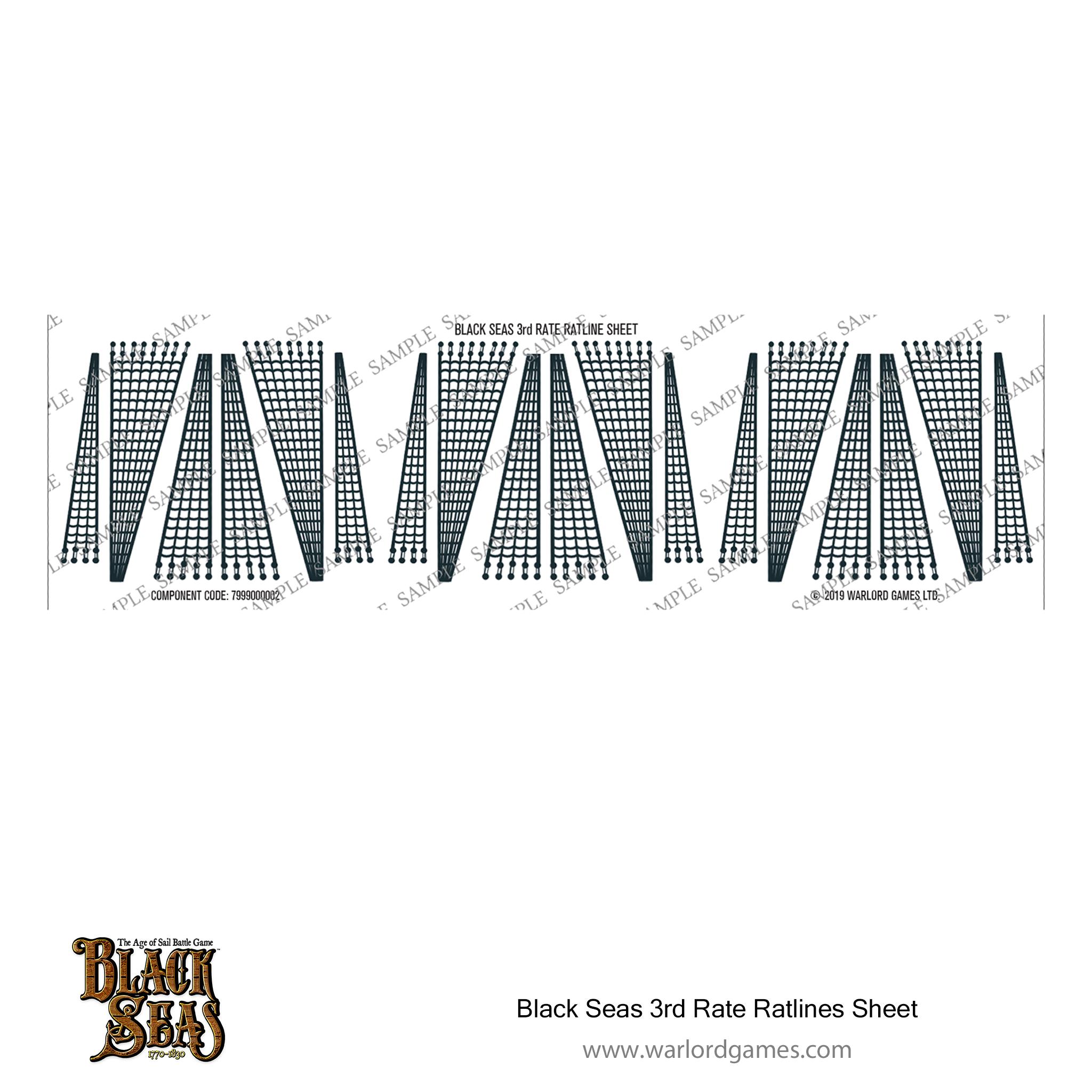 Black Seas 3rd Rate ratlines sheet